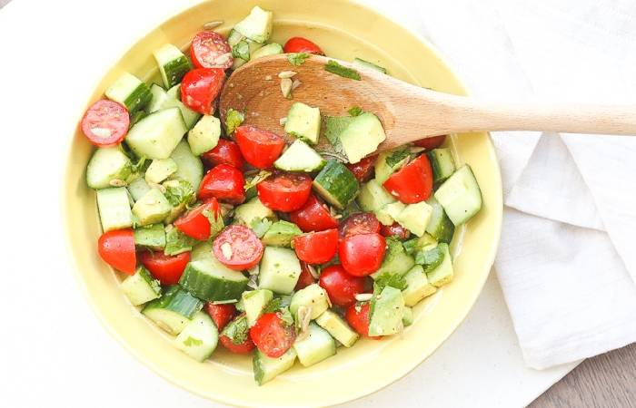 Pumpkin Salad with Avocado, Tomato, and Cucumber